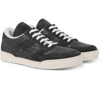 Suede-trimmed Intrecciato Leather Sneakers