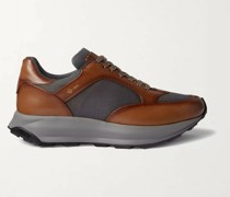 Aerial Patina Mesh and Leather Sneakers
