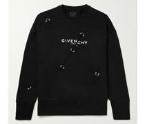 Embellished Logo-Print Fleece-Back Cotton-Jersey Sweatshirt