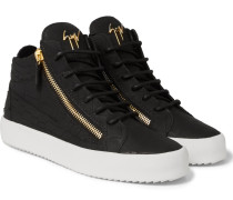 Croc-effect Leather High-top Sneakers