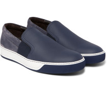 Leather, Suede And Rubber Slip-on Sneakers
