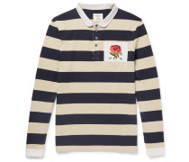 Appliquéd Striped Cotton-jersey Polo Shirt