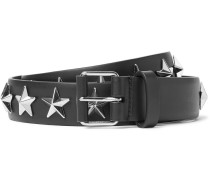 3cm Black Star-studded Leather Belt