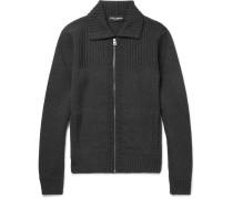 Ribbed Wool Zip-up Cardigan