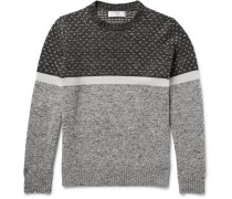 Mélange Panelled Wool, Cashmere And Silk-blend Sweater