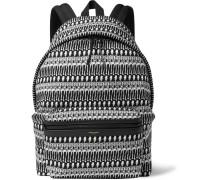 Leather-trimmed Skeleton-print Canvas Backpack
