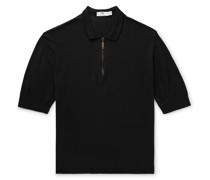Knitted Linen and Cotton-Blend Half-Zip Polo Shirt