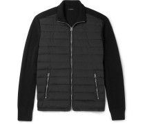Quilted Shell-panelled Ribbed Wool Zip-up Cardigan