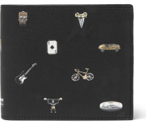 Printed Cross-grain Leather Billfold Wallet