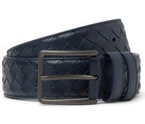 3.5cm Blue Intrecciato Leather Belt