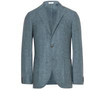Blue K-jacket Slim-fit Slub Silk And Linen-blend Blazer