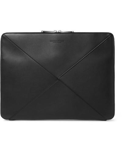 Intrecciato Leather Zip-around Pouch - Black
