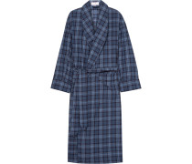Checked Brushed-cotton Twill Robe