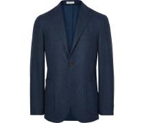Storm-blue K-jacket Slim-fit Yarn-dyed Wool Blazer