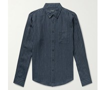 Slim-Fit Button-Down Collar Pinstriped Slub Linen Shirt