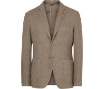 Beige Slim-fit Unstructured Linen Blazer