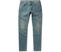 Skinny-fit 15cm Hem Distressed Stretch-denim Jeans