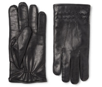 Cashmere-lined Intrecciato Leather Gloves