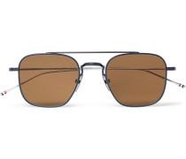 Square-frame Aviator-style Gunmetal-tone Sunglasses