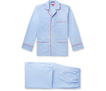 Piped Prince of Wales Checked Cotton Pyjama Set