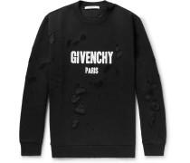 Cuban-fit Distressed Printed Cotton-jersey Sweatshirt