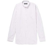Oversized Button-down Collar Striped Cotton-poplin Shirt