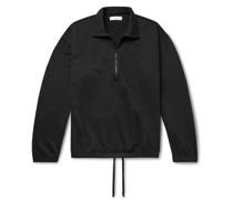 Garment-Dyed Fleece-Back Supima Cotton-Jersey Half-Zip Sweatshirt