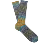 Ribbed Ombré Cotton-Blend Socks