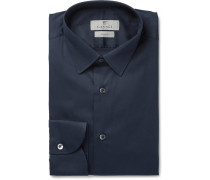 Blue Slim-fit Stretch Cotton-blend Shirt