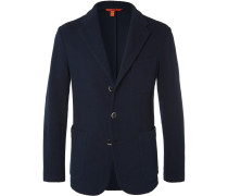 Navy Slim-fit Unstructured Textured Cotton-blend Blazer
