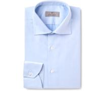Light-blue Cutaway-collar Herringbone Cotton Shirt