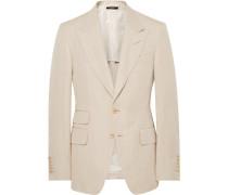 Beige Shelton Slim-fit Silk And Linen-blend Suit Jacket