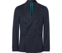 Blue Soho Slim-fit Double-breasted Wool-blend Blazer