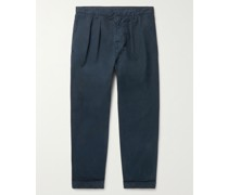 Havana Pleated Garment-Dyed Cotton Trousers