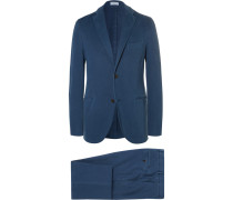 Blue Slim-fit Garment-dyed Stretch-cotton Twill Suit