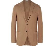 Brown Slim-fit Cotton-canvas Blazer