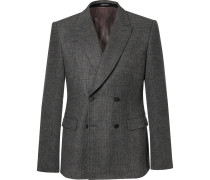Grey Prince Of Wales Check Wool-flannel Double-breasted Blazer