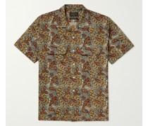 Slim-Fit Convertible-Collar Paisley-Print Cotton-Poplin Shirt