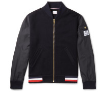 Cotton-blend Piqué And Shell Bomber Jacket