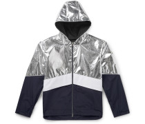 Quinic Hooded Metallic Colour-Block Shell Jacket