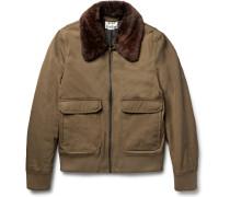 Abel Shearling-trimmed Padded Gabardine Bomber Jacket