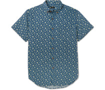 Slim-fit Floral-print Cotton Shirt