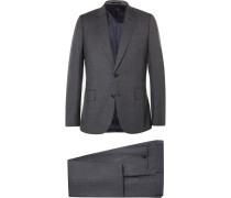 London Grey Soho Slim-fit Checked Wool Suit