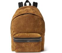 Star-appliquéd Suede Backpack