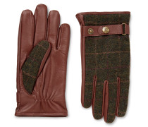 Edinburgh Checked Flannel And Leather Gloves