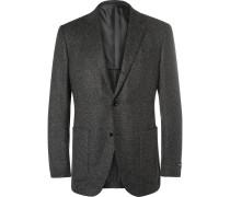 Grey Slim-fit Cashmere And Silk-blend Blazer