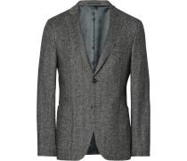 Grey Slim-fit Herringbone Wool And Silk-blend Flannel Blazer
