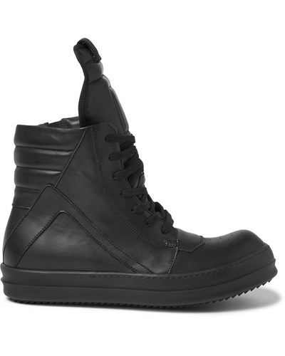 rick owens herren panelled leather high top sneakers reduziert. Black Bedroom Furniture Sets. Home Design Ideas