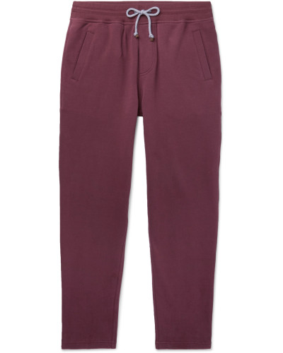 Slim-Fit Tapered Fleece-Back Stretch-Cotton Jersey Sweatpants