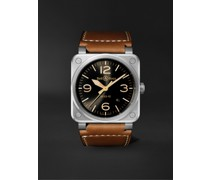 BR 03-92 Golden Heritage Limited Edition Automatic 42mm Stainless Steel and Leather Watch, Ref. No. BR0392-GH-ST/SCA